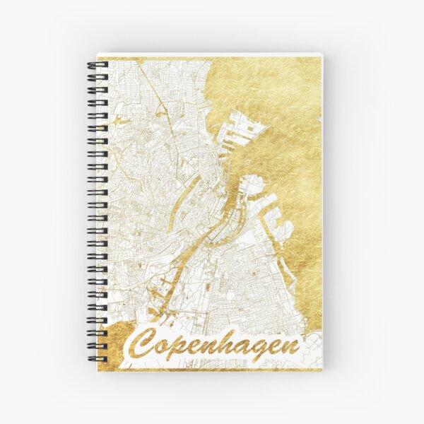 Copenhagen Map Gold Spiral Notebook