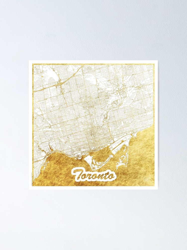 Alternate view of Toronto Map Gold Poster