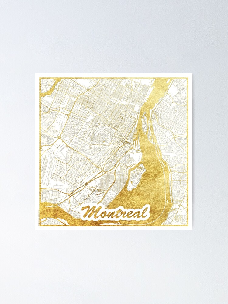 Alternate view of Montreal Map Gold Poster