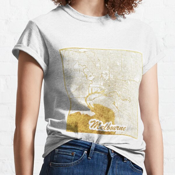 Melbourne Map Gold Classic T-Shirt