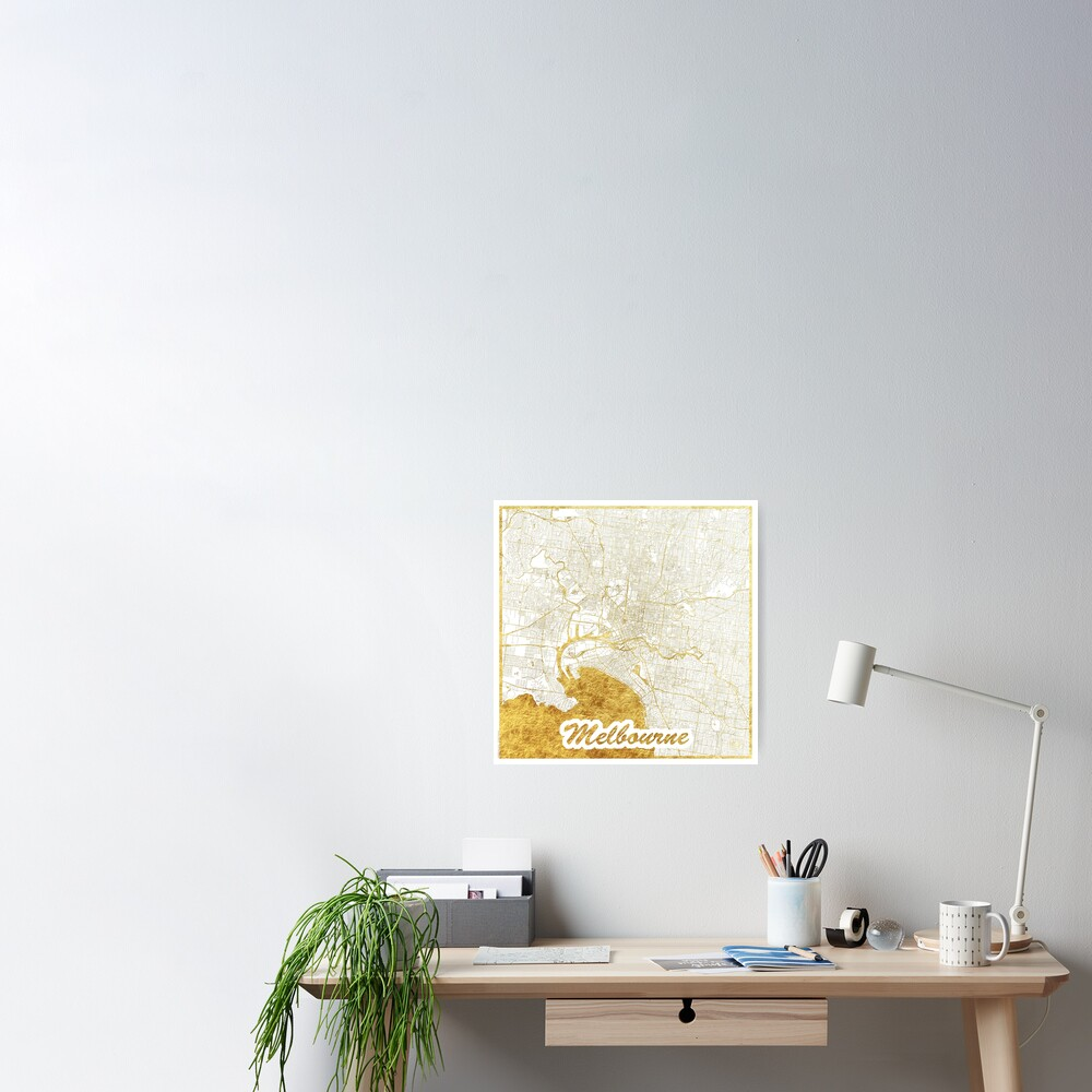 Melbourne Map Gold Poster