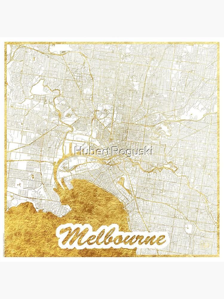 Melbourne Map Gold by HubertRoguski