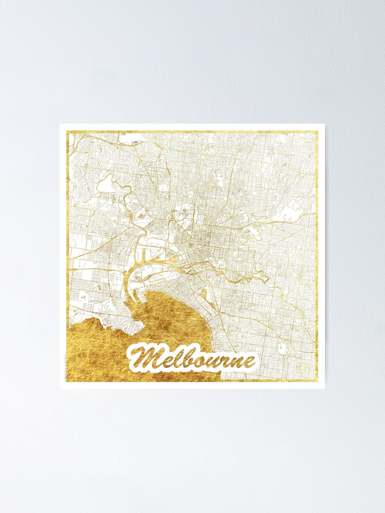Alternate view of Melbourne Map Gold Poster