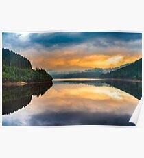 Lake Oasa at sunset in Romania Poster