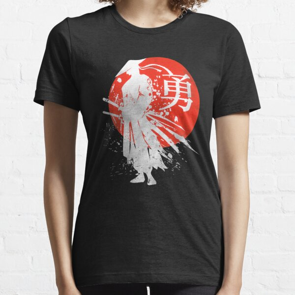 Vintage Paint Japanese Samurai Warrior Retro Japan Calligraphy for Courage Essential T-Shirt