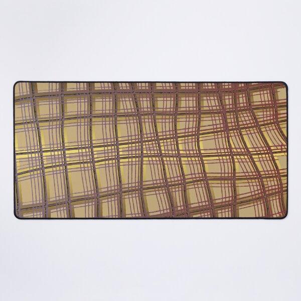 Pattern Design013 Abstract Golden Brown Lines Desk Mat