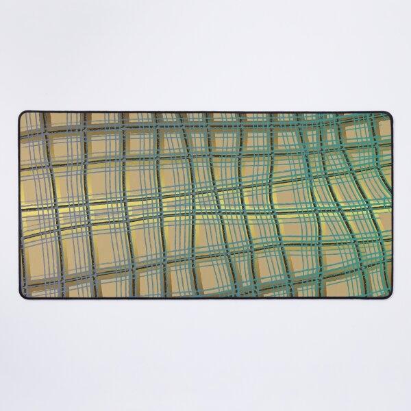 Pattern Design012 Abstract Golden Green Lines Desk Mat