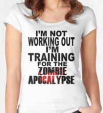 Training für die Zombie Apokalypse (dunkler Text) Tailliertes Rundhals-Shirt