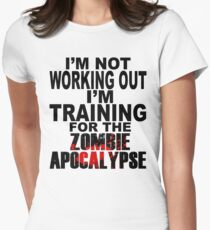 Training For The Zombie Apocalypse (dark text) Women's Fitted T-Shirt