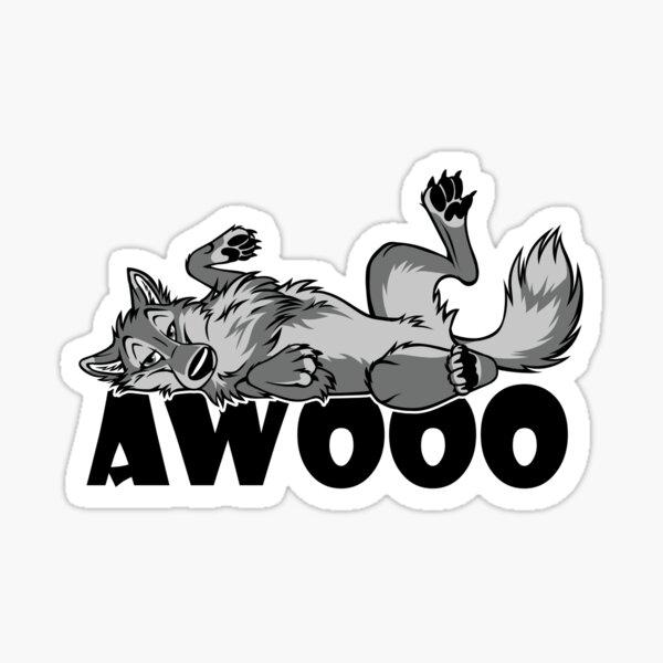 Lazy AWOO feral Wolf Sticker