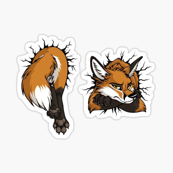 Front & Back - STUCK Red Fox (black cracks) Sticker