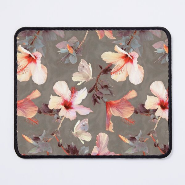 Coral Hibiscus Mouse Pad