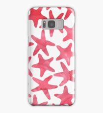 Modernes Muster mit roten Seesternen Samsung Galaxy Case/Skin