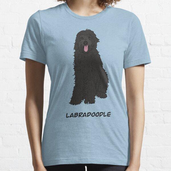 Black, cartoon Labradoodle Essential T-Shirt