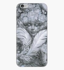 Fairy lady with white feathers and roses. iPhone Case