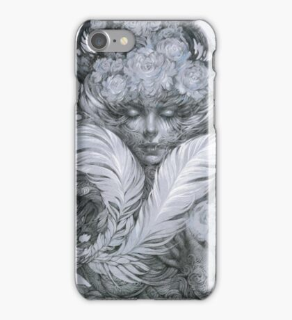 Fairy lady with white feathers and roses. iPhone Case/Skin