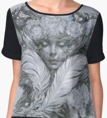 Fairy lady with white feathers and roses. Chiffon Top