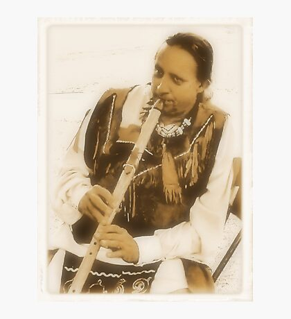 """Native American Indian on Flute""... prints and products Photographic Print"