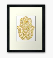 White Gold Hamsa Hand Framed Print