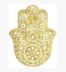 White Gold Hamsa Hand Photographic Print