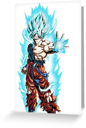 son goku super saiyan blue greeting cards by xami redbubble