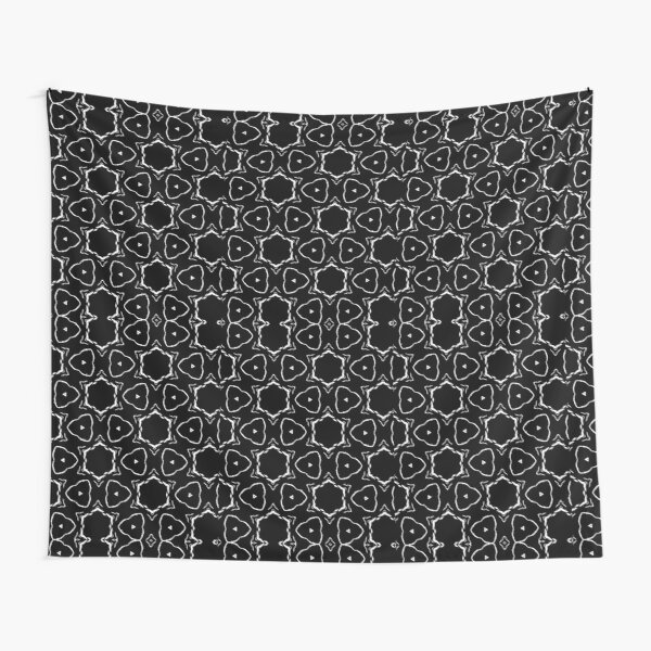 Black and White Active Dreaming Pattern Tapestry