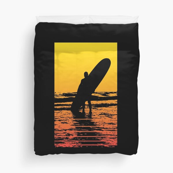 Surfer Silhouette in Water - Surfboard and surfer in the sun Duvet Cover