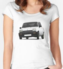 Cornering white Renault 5 - illustration Women's Fitted Scoop T-Shirt