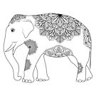 Vintage Elefant mit Stammes-Ornamenten von Viktoriia