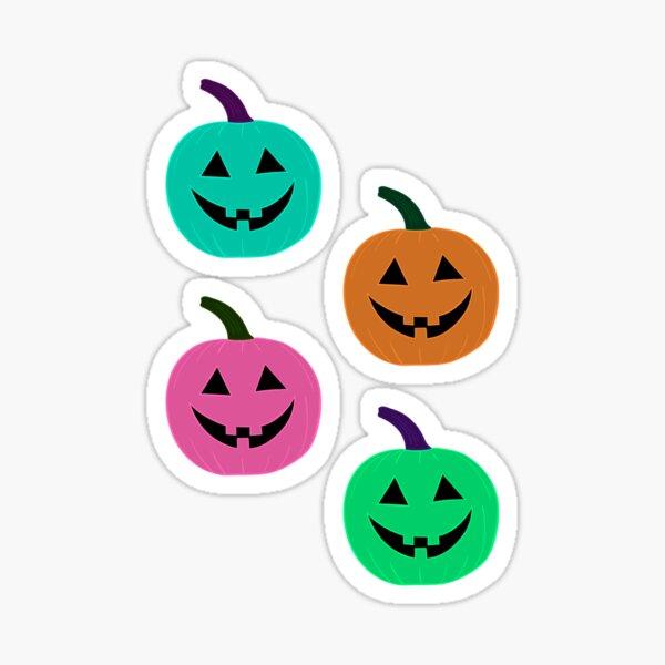 Colorful Pumpkin Heads Traditional Jack O Lantern Sticker Pack Glossy Sticker