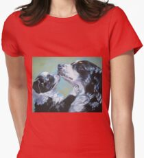 Australian Shepherd Fine Art Painting Womens Fitted T-Shirt