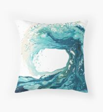 Surf Art Wave Print Ocean Picture Throw Pillow