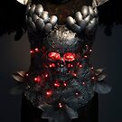Gladiator, silver armor skull with red eyes and led lights, helmet metal filigree by Fernando Cortés