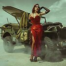 beautiful redhead pin up style wearing uniform wii with vintage aircraft war by Fernando Cortés