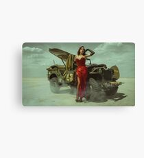 beautiful redhead pin up style wearing uniform wii with vintage aircraft war Canvas Print
