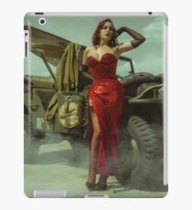 beautiful redhead pin up style wearing uniform wii with vintage aircraft war iPad Case/Skin