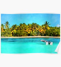 Boat on the tropical coast Poster