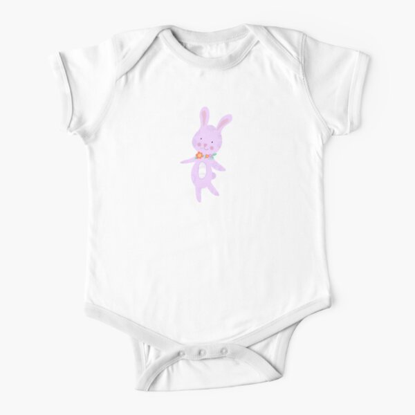 Cute purple bunny with pretty flowers Short Sleeve Baby One-Piece