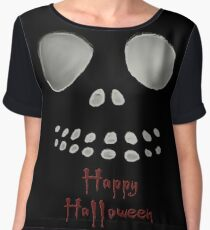 Happy Halloween, skeleton, skulls eyes, face Women's Chiffon Top