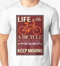 LIFE IS LIKE A BICYCLE; Vintage Einstein Print T-Shirt