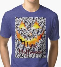 Happy Halloween, skeleton, skulls, pumpkin eyes, face, bats Tri-blend T-Shirt