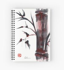 Crimson in the Mist - India ink bamboo wash painting Spiral Notebook