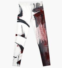 Crimson in the Mist - India ink bamboo wash painting Leggings