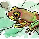 Grenouille - Original frog watercolor painting by Rebecca Rees