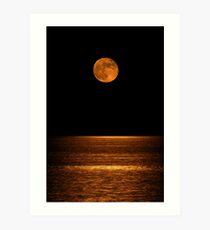 Harvest Moon Over Clear Lake Art Print