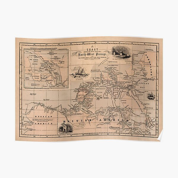 Map of the Northwest Passage 1856 Poster