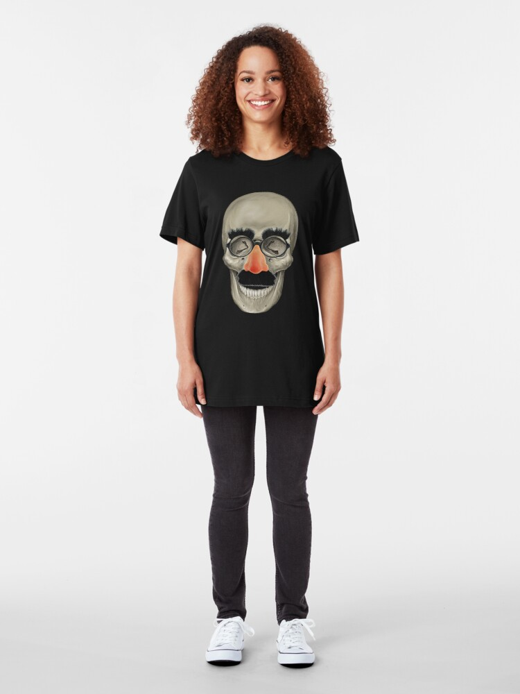 Alternate view of Died Laughing - Skull Slim Fit T-Shirt