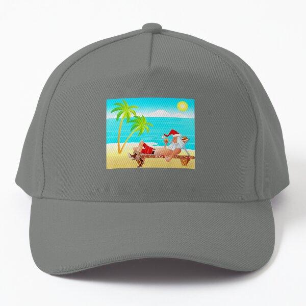 Santa Claus Rest in the Beach Baseball Cap