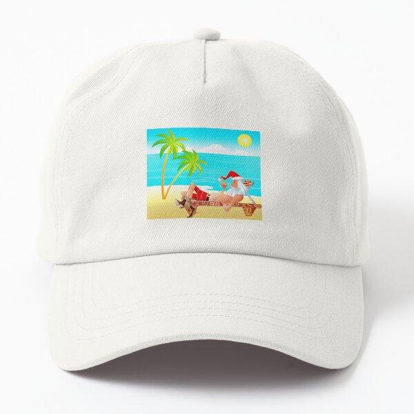Santa Claus Rest in the Beach Dad Hat