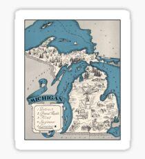 Vintage 1926 Michigan state map - Christmas gift idea Sticker